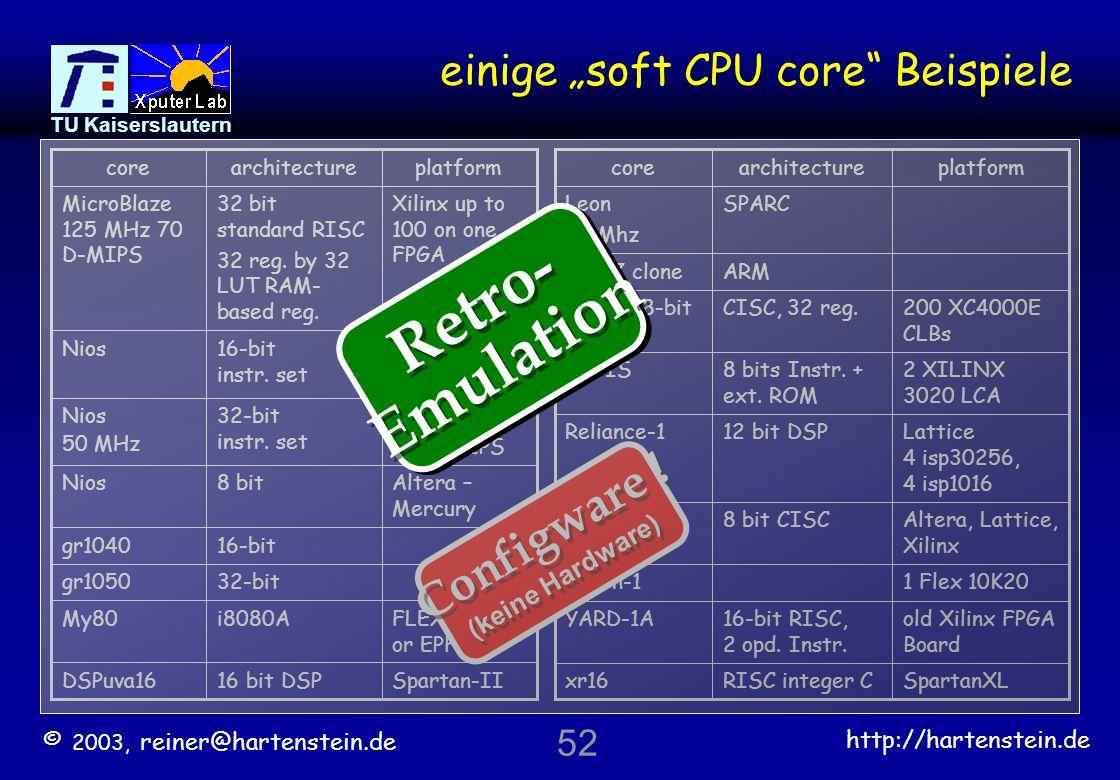 © 2003, reiner@hartenstein.de http://hartenstein.de TU Kaiserslautern 51 FPGA Fabric-based on Virtex-II Architecture Source: Ivo Bolsens, Xilinx On Chip Memory Controller Power PC Core Embeded RAM Rocket IO ganzes System auf einem Chip alles nötige an Bord Xilinx Virtex-II Pro FPGA Architecture PowerPC 405 RISC CPU (PPC405) cores