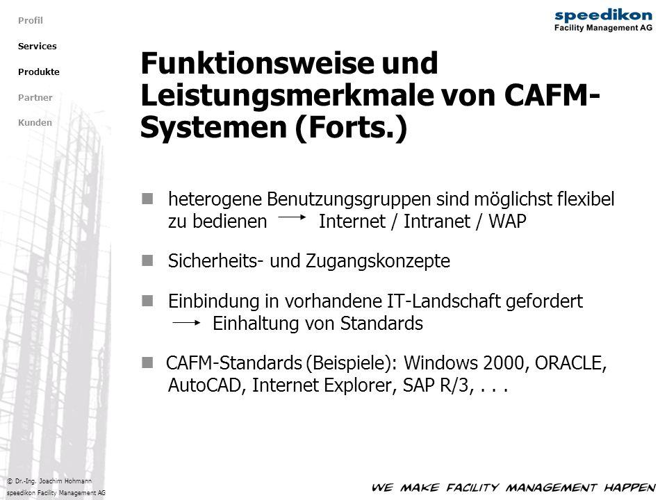 © Dr.-Ing. Joachim Hohmann speedikon Facility Management AG heterogene Benutzungsgruppen sind möglichst flexibel zu bedienen Internet / Intranet / WAP