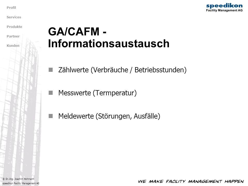 © Dr.-Ing. Joachim Hohmann speedikon Facility Management AG Zählwerte (Verbräuche / Betriebsstunden) Messwerte (Termperatur) Meldewerte (Störungen, Au