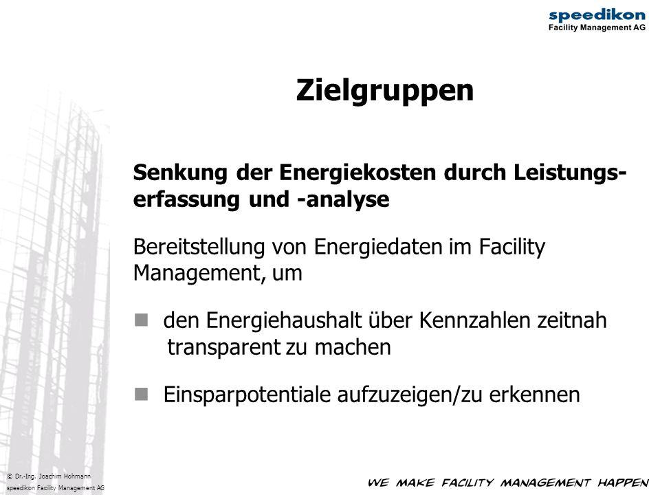 © Dr.-Ing. Joachim Hohmann speedikon Facility Management AG Senkung der Energiekosten durch Leistungs- erfassung und -analyse Bereitstellung von Energ