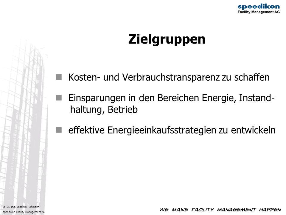 © Dr.-Ing. Joachim Hohmann speedikon Facility Management AG Kosten- und Verbrauchstransparenz zu schaffen Einsparungen in den Bereichen Energie, Insta