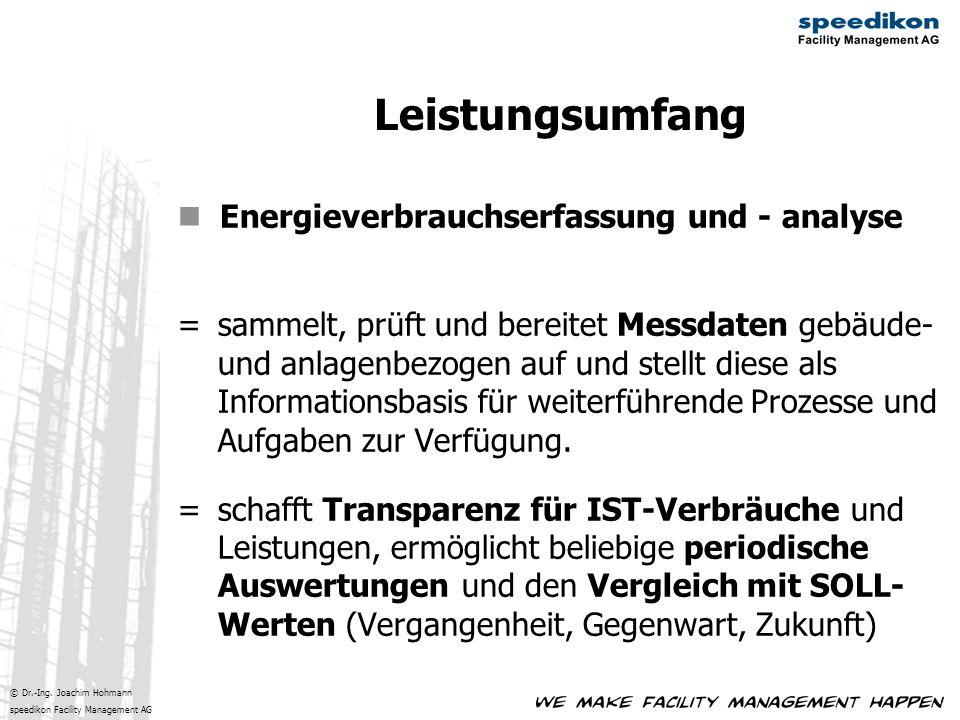 © Dr.-Ing. Joachim Hohmann speedikon Facility Management AG Energieverbrauchserfassung und - analyse =sammelt, prüft und bereitet Messdaten gebäude- u