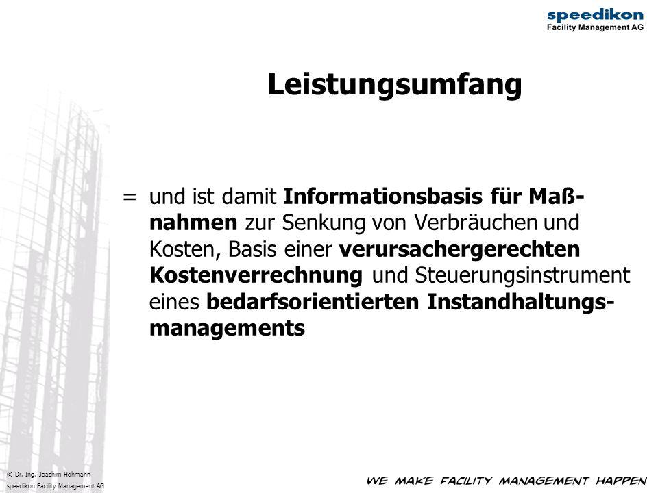 © Dr.-Ing. Joachim Hohmann speedikon Facility Management AG = und ist damit Informationsbasis für Maß- nahmen zur Senkung von Verbräuchen und Kosten,
