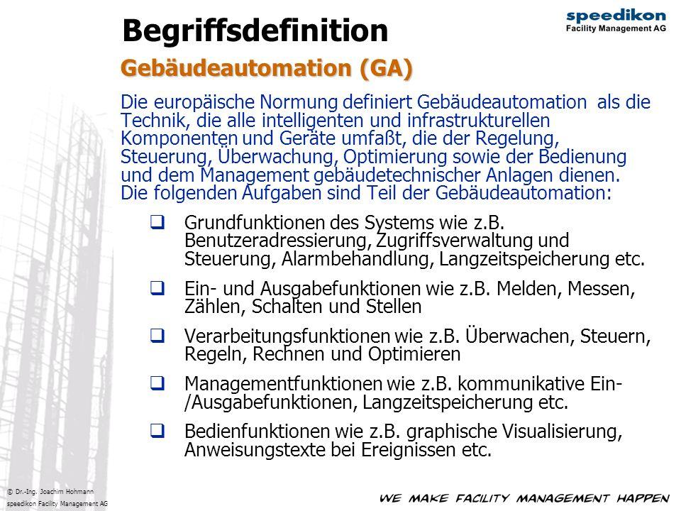 © Dr.-Ing. Joachim Hohmann speedikon Facility Management AG Gebäudeautomation (GA) Begriffsdefinition Die europäische Normung definiert Gebäudeautomat