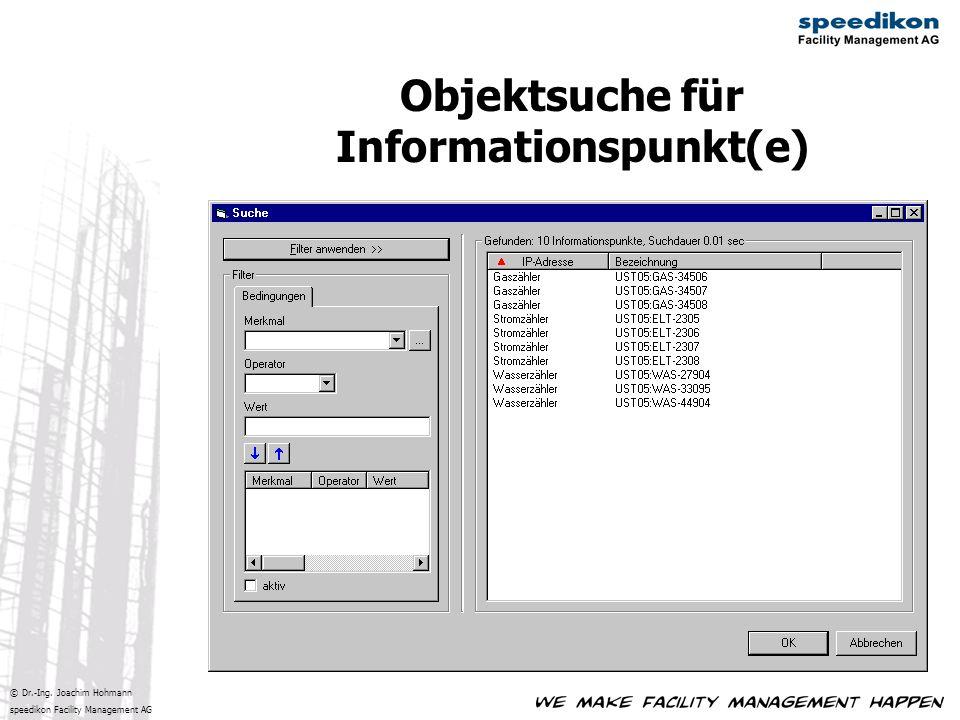 © Dr.-Ing. Joachim Hohmann speedikon Facility Management AG Objektsuche für Informationspunkt(e)