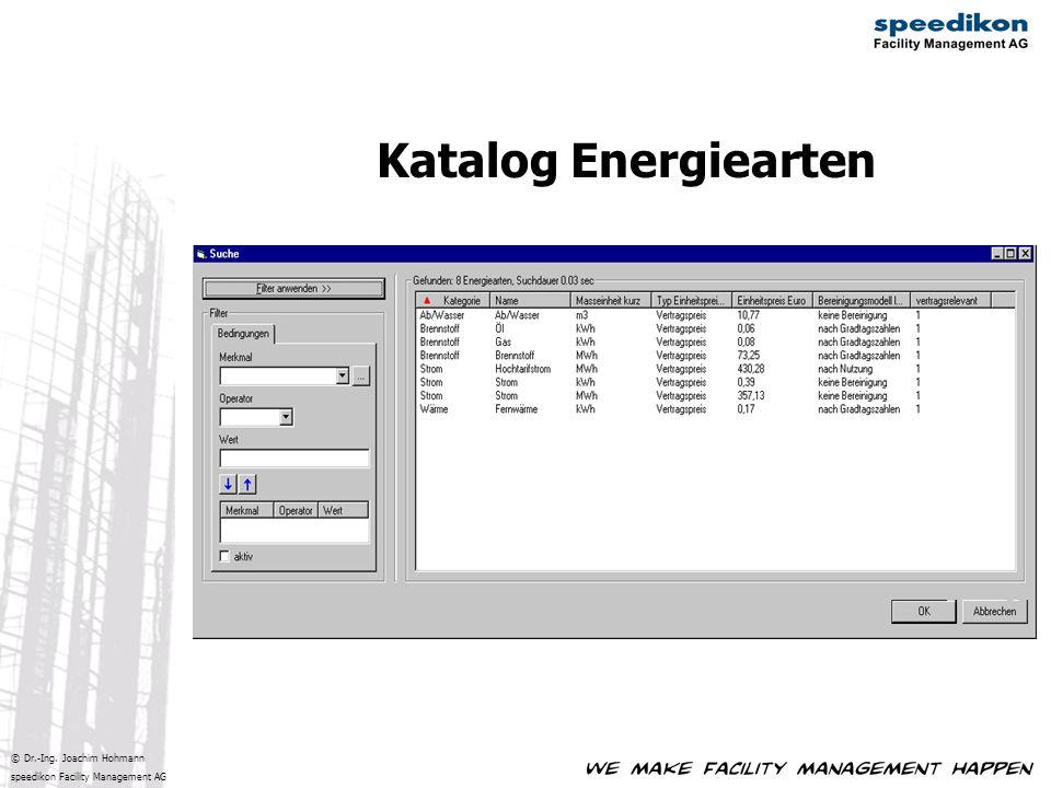 © Dr.-Ing. Joachim Hohmann speedikon Facility Management AG Katalog Energiearten