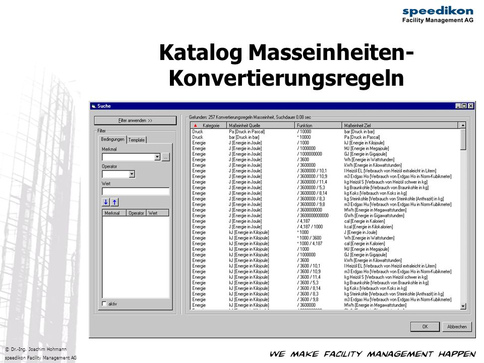 © Dr.-Ing. Joachim Hohmann speedikon Facility Management AG Katalog Masseinheiten- Konvertierungsregeln