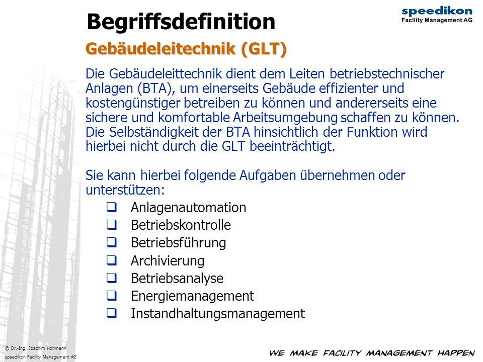 © Dr.-Ing. Joachim Hohmann speedikon Facility Management AG Gebäudeleitechnik (GLT) Begriffsdefinition Die Gebäudeleittechnik dient dem Leiten betrieb