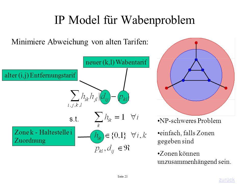 Seite 20 Zone k - Haltestelle i Zuordnung IP Model für Wabenproblem Minimiere Abweichung von alten Tarifen: s.t. neuer (k,l) Wabentarif alter (i,j) En