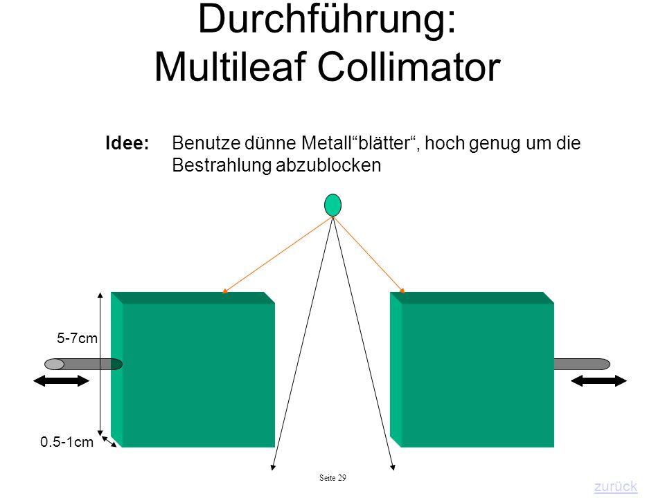 Seite 29 Durchführung: Multileaf Collimator Idee: Benutze dünne Metallblätter, hoch genug um die Bestrahlung abzublocken 0.5-1cm 5-7cm zurück