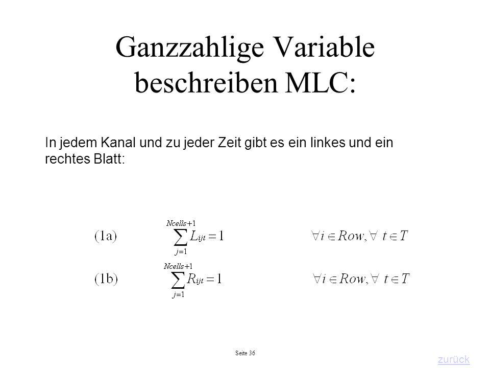 Seite 36 Ganzzahlige Variable beschreiben MLC: In jedem Kanal und zu jeder Zeit gibt es ein linkes und ein rechtes Blatt: zurück