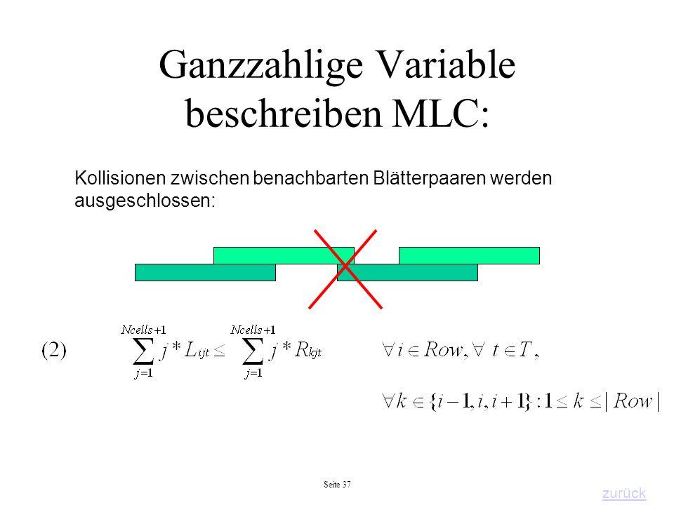 Seite 37 Ganzzahlige Variable beschreiben MLC: Kollisionen zwischen benachbarten Blätterpaaren werden ausgeschlossen: zurück