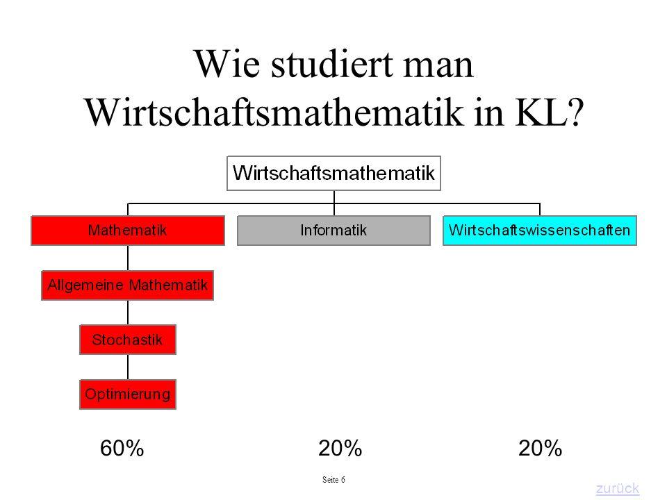 Seite 6 Wie studiert man Wirtschaftsmathematik in KL? 60% 20% 20% zurück
