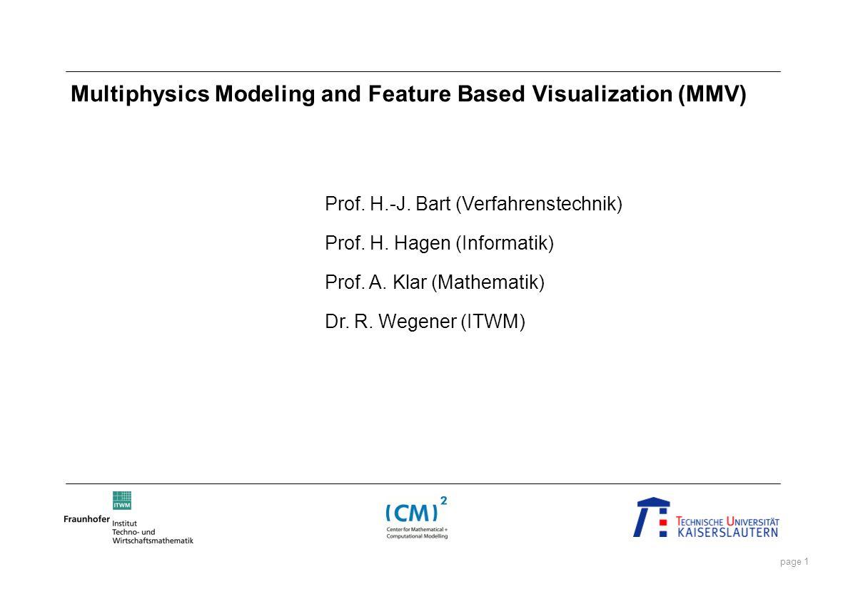 page 1 Multiphysics Modeling and Feature Based Visualization (MMV) Prof. H.-J. Bart (Verfahrenstechnik) Prof. H. Hagen (Informatik) Prof. A. Klar (Mat