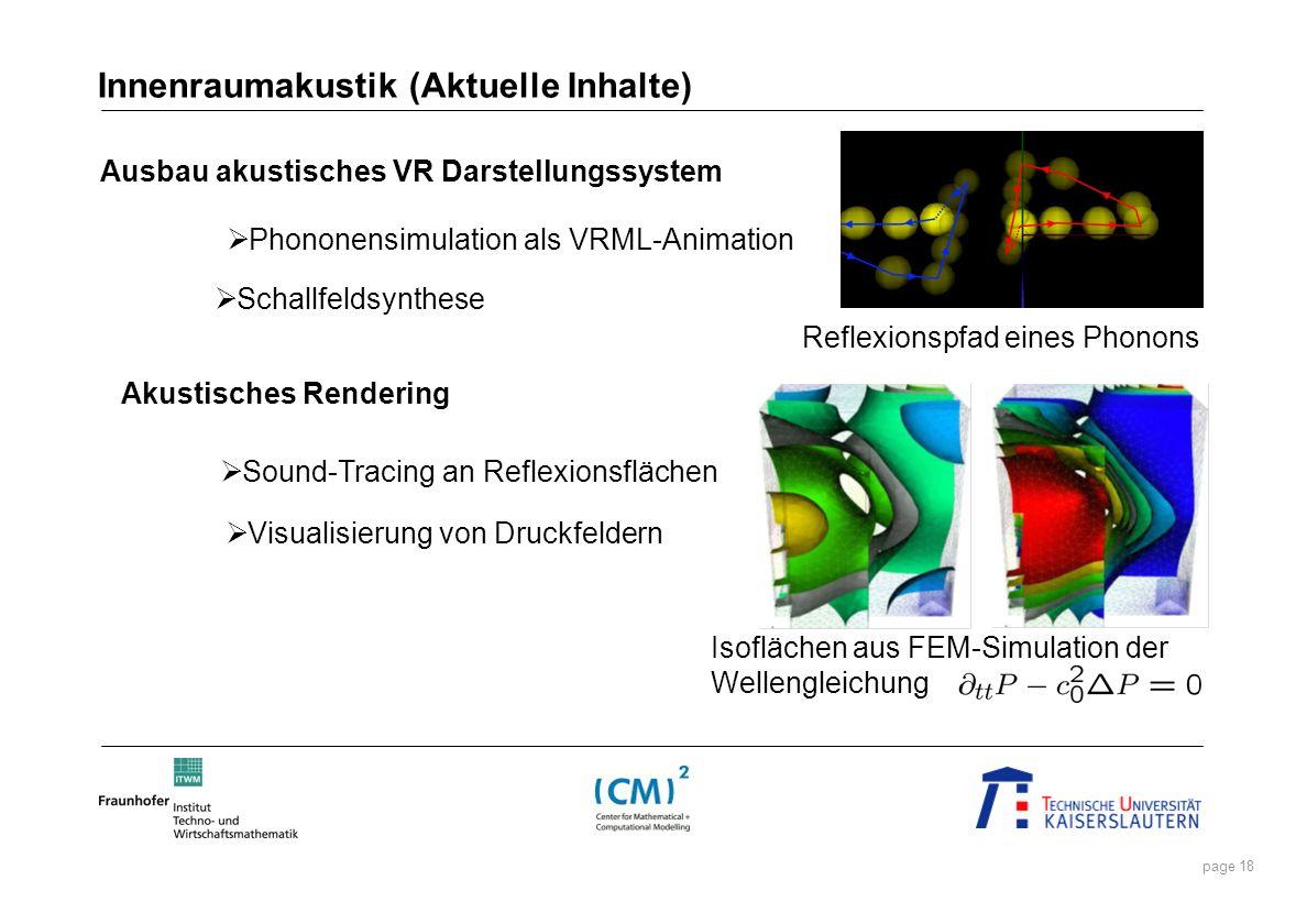 page 18 Akustisches Rendering Schallfeldsynthese Phononensimulation als VRML-Animation Ausbau akustisches VR Darstellungssystem Innenraumakustik (Aktu