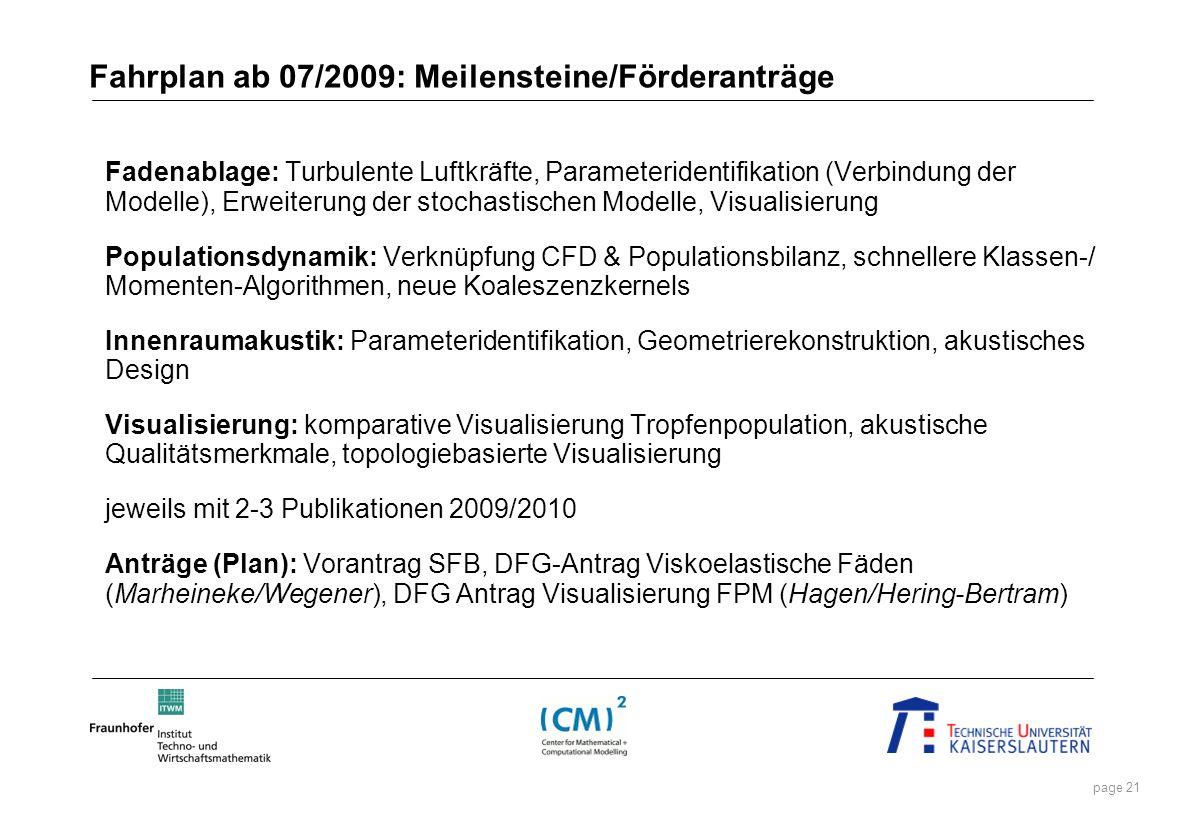 page 21 Fahrplan ab 07/2009: Meilensteine/Förderanträge Fadenablage: Turbulente Luftkräfte, Parameteridentifikation (Verbindung der Modelle), Erweiter