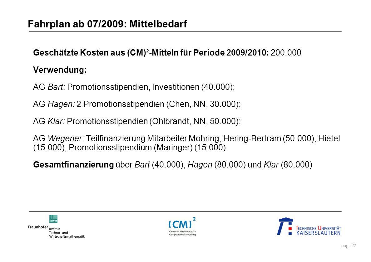 page 22 Fahrplan ab 07/2009: Mittelbedarf Geschätzte Kosten aus (CM)²-Mitteln für Periode 2009/2010: 200.000 Verwendung: AG Bart: Promotionsstipendien