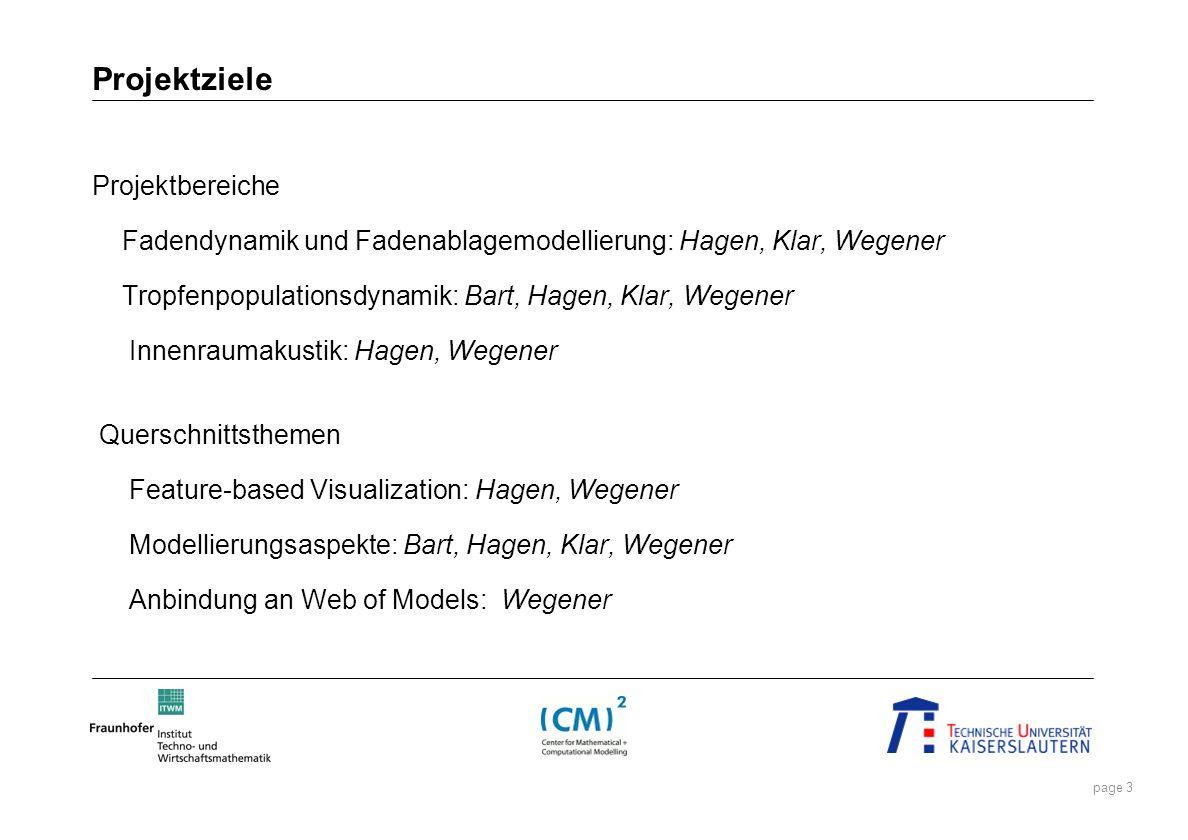 page 3 Projektbereiche Fadendynamik und Fadenablagemodellierung: Hagen, Klar, Wegener Tropfenpopulationsdynamik: Bart, Hagen, Klar, Wegener Innenrauma