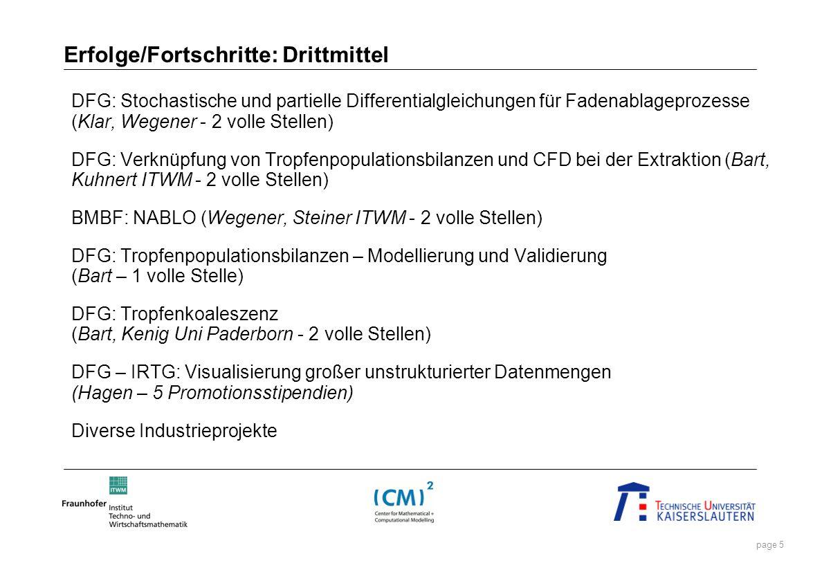 page 5 Erfolge/Fortschritte: Drittmittel DFG: Stochastische und partielle Differentialgleichungen für Fadenablageprozesse (Klar, Wegener - 2 volle Ste