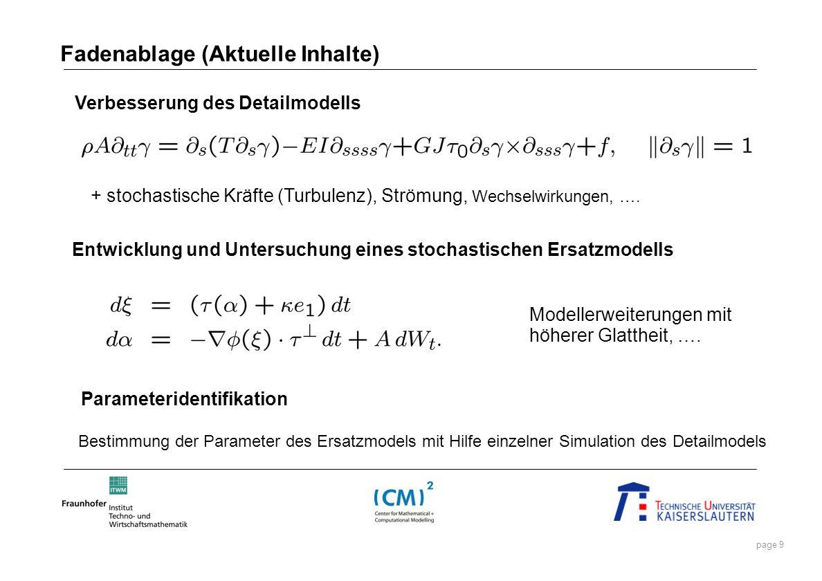 page 9 Entwicklung und Untersuchung eines stochastischen Ersatzmodells + stochastische Kräfte (Turbulenz), Strömung, Wechselwirkungen, …. Verbesserung