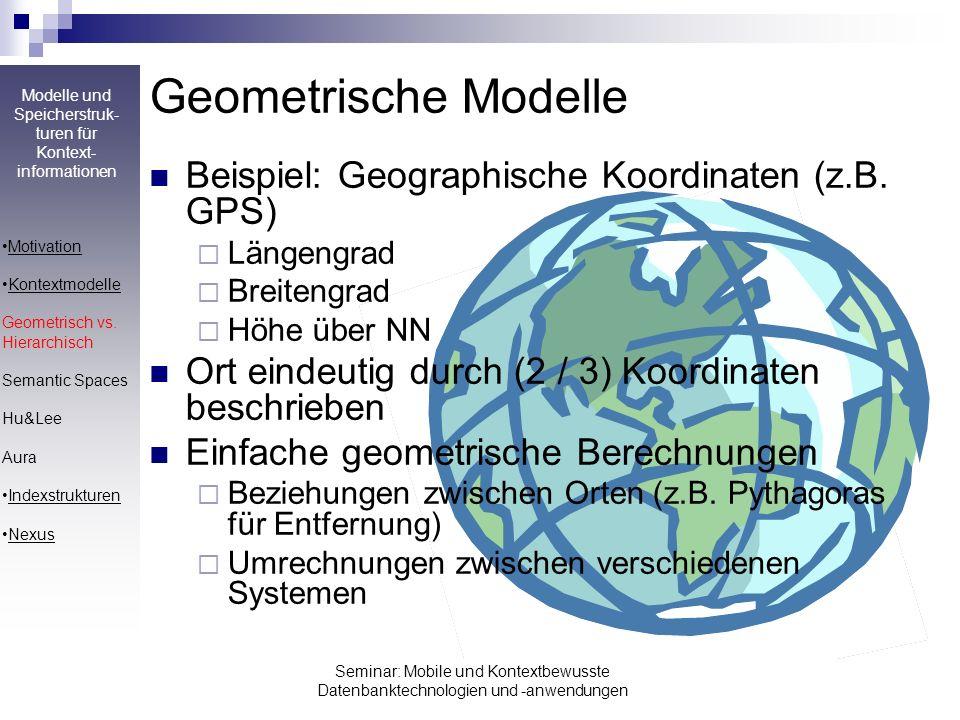 Modelle und Speicherstruk- turen für Kontext- informationen Seminar: Mobile und Kontextbewusste Datenbanktechnologien und -anwendungen Geometrische Mo
