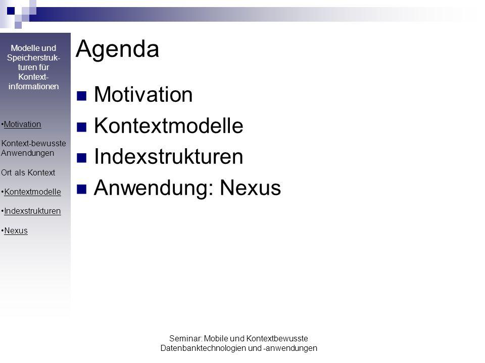 Modelle und Speicherstruk- turen für Kontext- informationen Seminar: Mobile und Kontextbewusste Datenbanktechnologien und -anwendungen Agenda Motivati