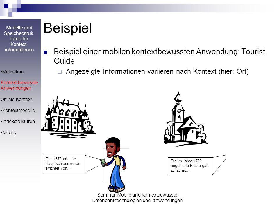 Modelle und Speicherstruk- turen für Kontext- informationen Seminar: Mobile und Kontextbewusste Datenbanktechnologien und -anwendungen Beispiel Beispi