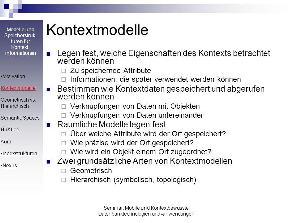 Modelle und Speicherstruk- turen für Kontext- informationen Seminar: Mobile und Kontextbewusste Datenbanktechnologien und -anwendungen Aura-Kontexmodell Identifikation von Elementen durch Aura Location Identifier (ALI) Raum: ali://TU-KL/36/3/330 Punkt: ali://TUi-KL/36/3/330#(1,4,5) Gebiet: ali://TU-KL/36/3/330#{(0,0),(1,0),(2,3)-(2,3)} Verschiedene Operationen auf ALIs definiert (hierarchisch & geometrisch) Motivation Kontextmodelle Geometrisch vs.