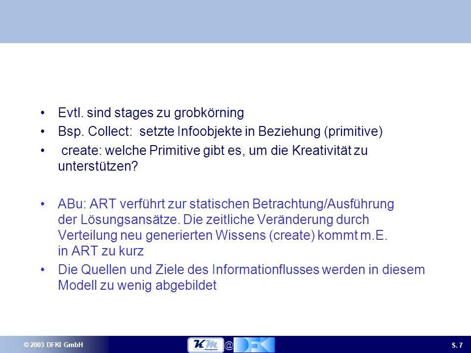 © 2003 DFKI GmbH S. 7 @ Evtl. sind stages zu grobkörning Bsp.