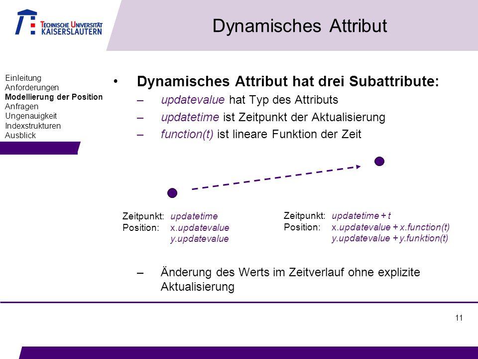 11 Dynamisches Attribut Dynamisches Attribut hat drei Subattribute: –updatevalue hat Typ des Attributs –updatetime ist Zeitpunkt der Aktualisierung –function(t) ist lineare Funktion der Zeit –Änderung des Werts im Zeitverlauf ohne explizite Aktualisierung Einleitung Anforderungen Modellierung der Position Anfragen Ungenauigkeit Indexstrukturen Ausblick Zeitpunkt: updatetime Position: x.updatevalue y.updatevalue Zeitpunkt: updatetime + t Position: x.updatevalue + x.function(t) y.updatevalue + y.funktion(t)