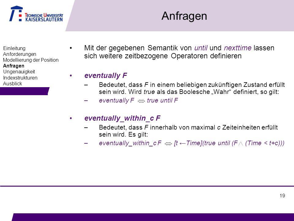 19 Anfragen Mit der gegebenen Semantik von until und nexttime lassen sich weitere zeitbezogene Operatoren definieren eventually F –Bedeutet, dass F in einem beliebigen zukünftigen Zustand erfüllt sein wird.