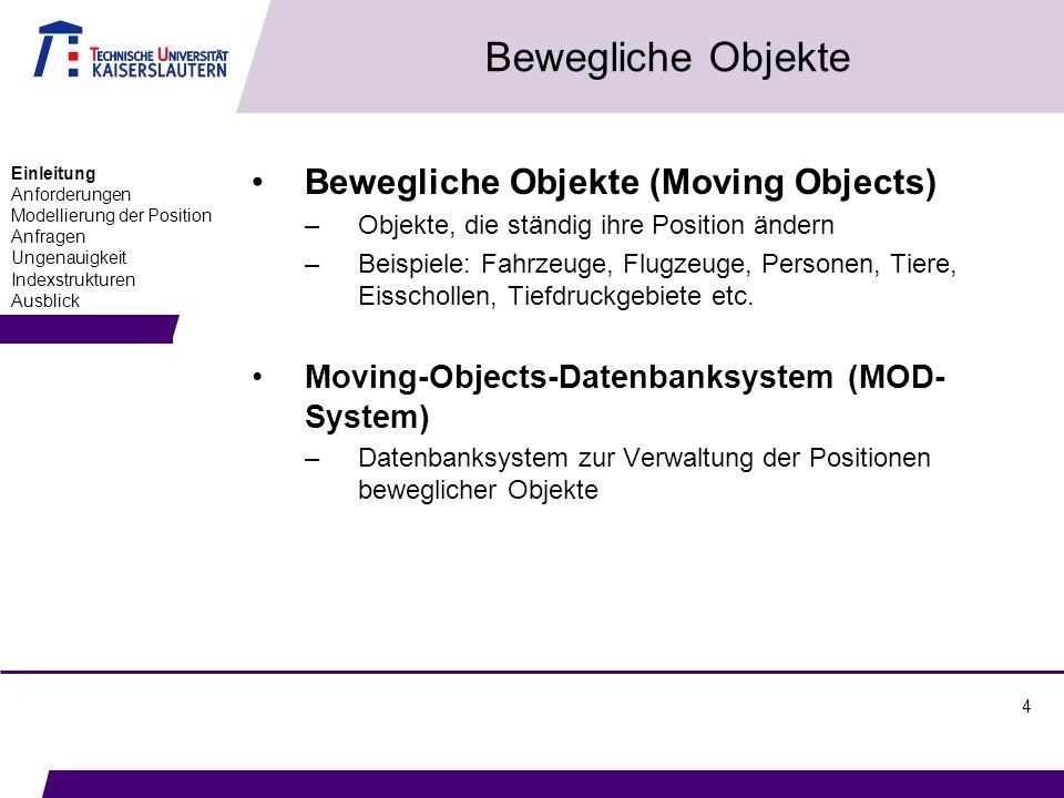 4 Bewegliche Objekte Bewegliche Objekte (Moving Objects) –Objekte, die ständig ihre Position ändern –Beispiele: Fahrzeuge, Flugzeuge, Personen, Tiere,