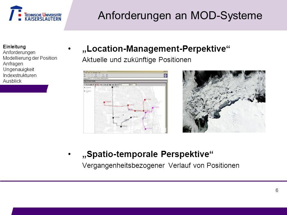 6 Anforderungen an MOD-Systeme Location-Management-Perpektive Aktuelle und zukünftige Positionen Spatio-temporale Perspektive Vergangenheitsbezogener Verlauf von Positionen Einleitung Anforderungen Modellierung der Position Anfragen Ungenauigkeit Indexstrukturen Ausblick