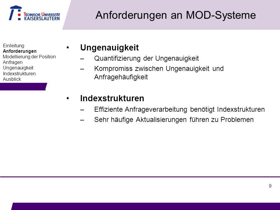 9 Anforderungen an MOD-Systeme Ungenauigkeit –Quantifizierung der Ungenauigkeit –Kompromiss zwischen Ungenauigkeit und Anfragehäufigkeit Indexstruktur