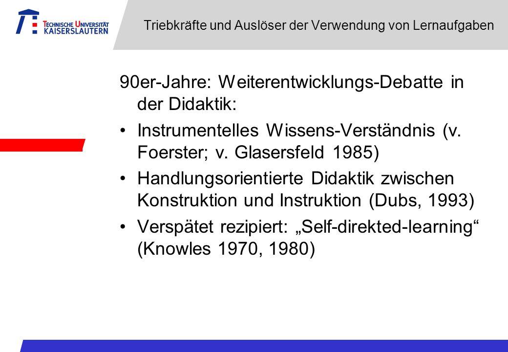 Triebkräfte und Auslöser der Verwendung von Lernaufgaben 90er-Jahre: Weiterentwicklungs-Debatte in der Didaktik: Instrumentelles Wissens-Verständnis (