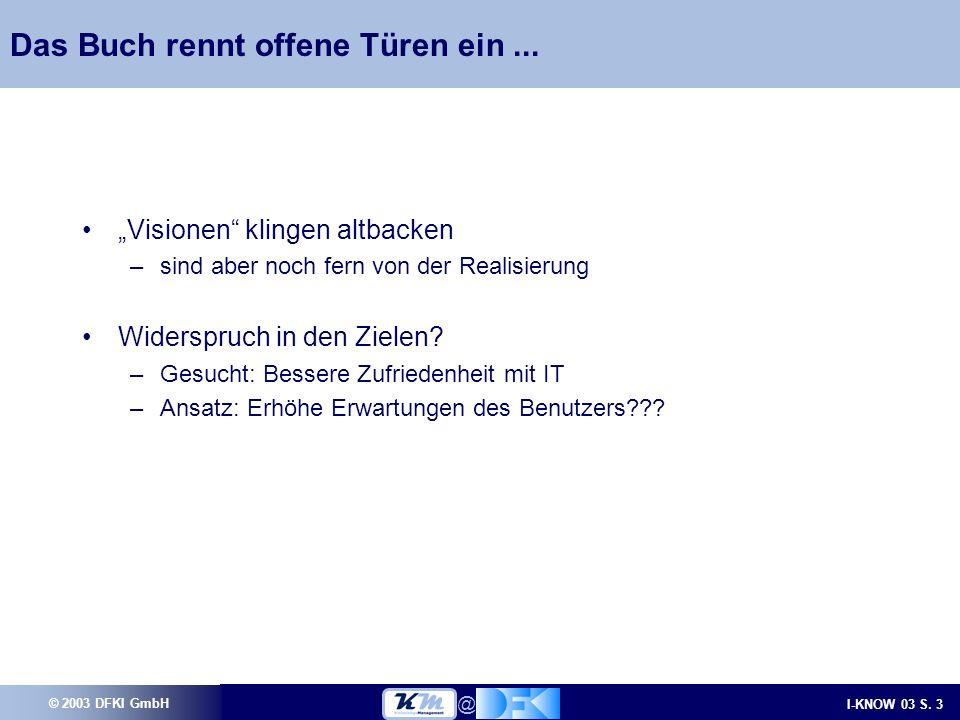 © 2003 DFKI GmbH I-KNOW 03 S.3 @ Das Buch rennt offene Türen ein...