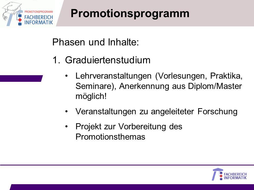 Promotionsprogramm Phasen und Inhalte: 1.Graduiertenstudium Lehrveranstaltungen (Vorlesungen, Praktika, Seminare), Anerkennung aus Diplom/Master mögli