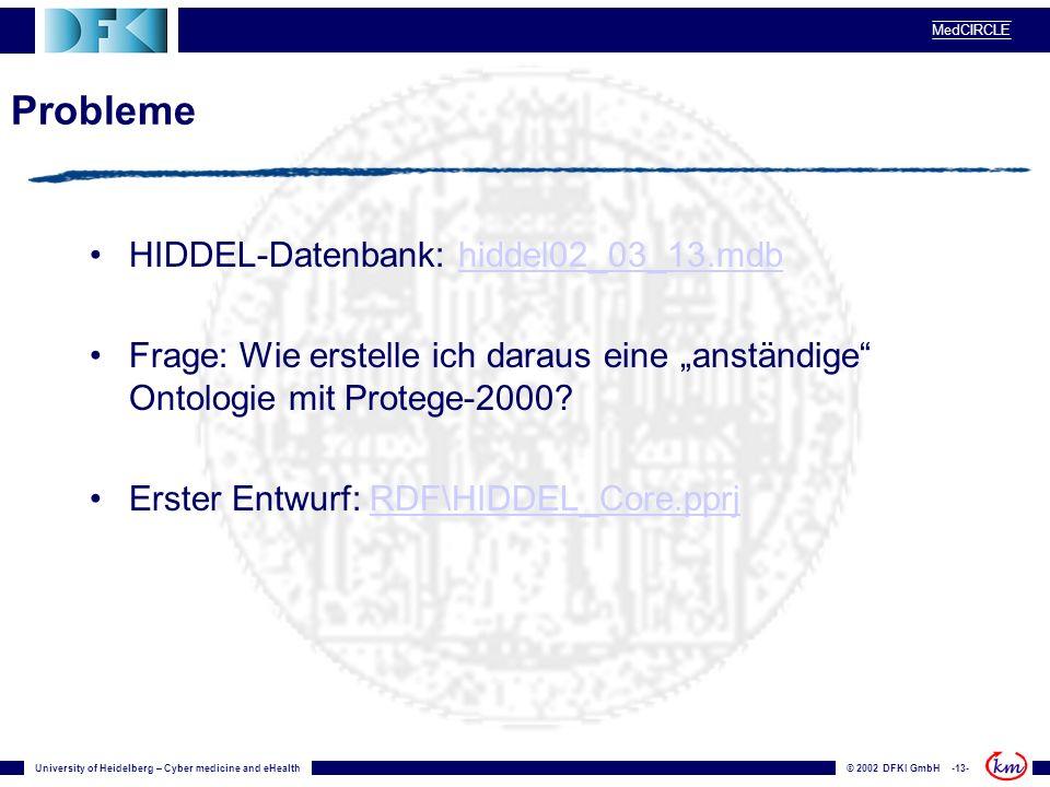 University of Heidelberg – Cyber medicine and eHealth© 2002 DFKI GmbH -13- MedCIRCLE Probleme HIDDEL-Datenbank: hiddel02_03_13.mdbhiddel02_03_13.mdb F
