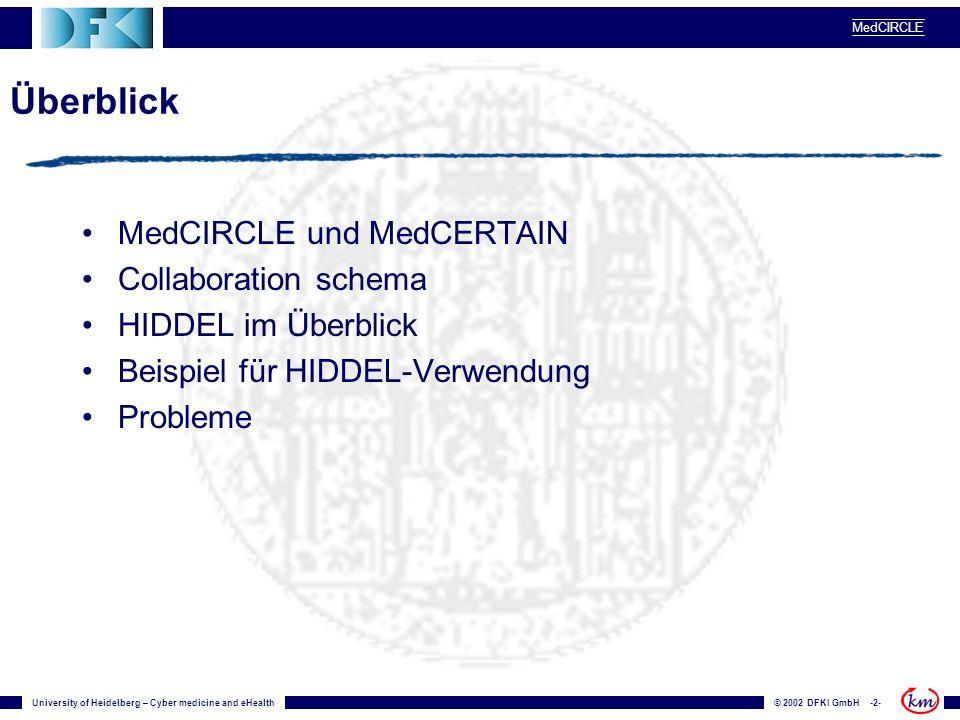 University of Heidelberg – Cyber medicine and eHealth© 2002 DFKI GmbH -2- MedCIRCLE Überblick MedCIRCLE und MedCERTAIN Collaboration schema HIDDEL im Überblick Beispiel für HIDDEL-Verwendung Probleme