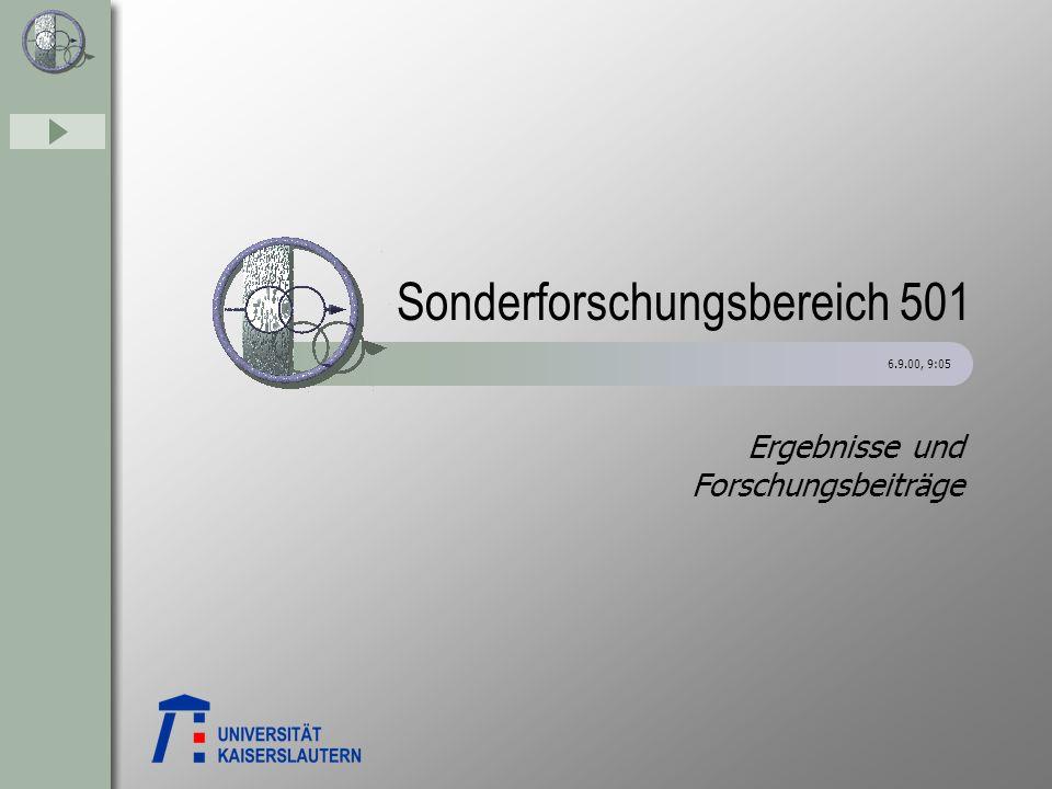 Sonderforschungsbereich 501 Ergebnisse und Forschungsbeiträge 6.9.00, 9:05