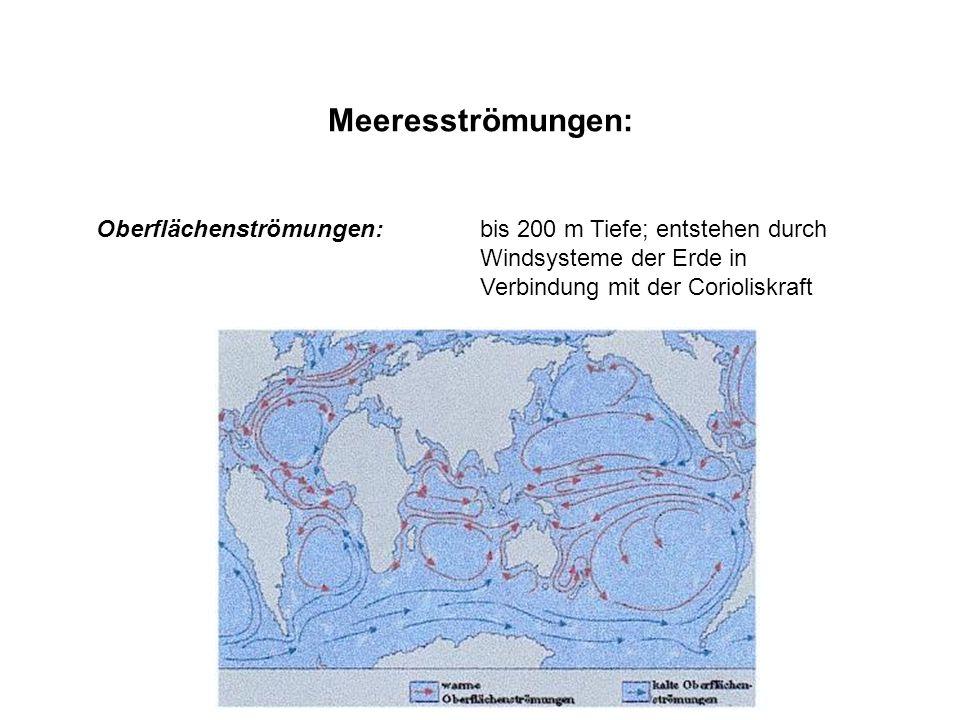 Meeresströmungen: Tiefenströmungen: am Meeresboden; entstehen durch Druckunterschiede Driftströmungen: durch Winde an der Meeresoberfläche Gradientströmungen: durch unterschiedlichen Salzgehalt (Salinität), Temperatur und Dichte entstandene Druckunterschiede werden ausgeglichen