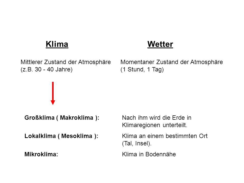 Klimafaktoren: Geographische Breite: Berücksichtigung der Sonneneinstrahlung; geogr.