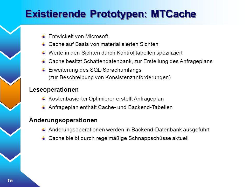 15 Existierende Prototypen: MTCache Entwickelt von Microsoft Cache auf Basis von materialisierten Sichten Werte in den Sichten durch Kontrolltabellen spezifiziert Cache besitzt Schattendatenbank, zur Erstellung des Anfrageplans Erweiterung des SQL-Sprachumfangs (zur Beschreibung von Konsistenzanforderungen) Leseoperationen Kostenbasierter Optimierer erstellt Anfrageplan Anfrageplan enthält Cache- und Backend-Tabellen Änderungsoperationen Änderungsoperationen werden in Backend-Datenbank ausgeführt Cache bleibt durch regelmäßige Schnappschüsse aktuell