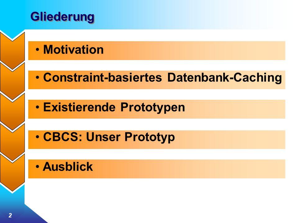 2 Gliederung Motivation Constraint-basiertes Datenbank-Caching Existierende Prototypen CBCS: Unser Prototyp Ausblick