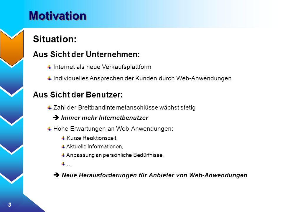 3 Motivation Situation: Aus Sicht der Unternehmen: Internet als neue Verkaufsplattform Individuelles Ansprechen der Kunden durch Web-Anwendungen Aus S