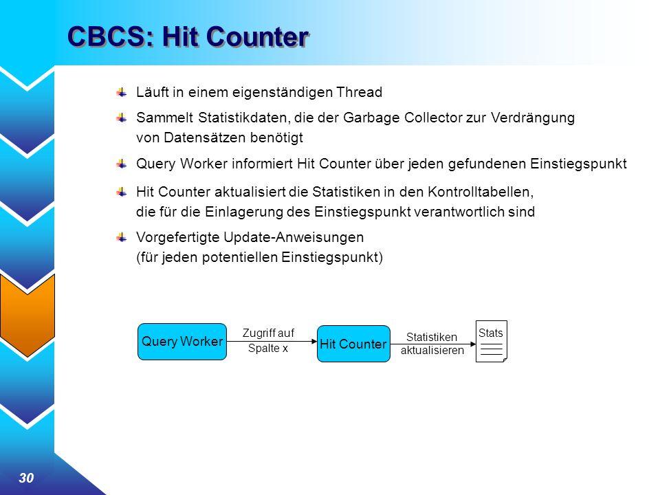 30 CBCS: Hit Counter Läuft in einem eigenständigen Thread Sammelt Statistikdaten, die der Garbage Collector zur Verdrängung von Datensätzen benötigt Query Worker informiert Hit Counter über jeden gefundenen Einstiegspunkt Hit Counter aktualisiert die Statistiken in den Kontrolltabellen, die für die Einlagerung des Einstiegspunkt verantwortlich sind Vorgefertigte Update-Anweisungen (für jeden potentiellen Einstiegspunkt) Hit Counter Query Worker Zugriff auf Spalte x Stats Statistiken aktualisieren