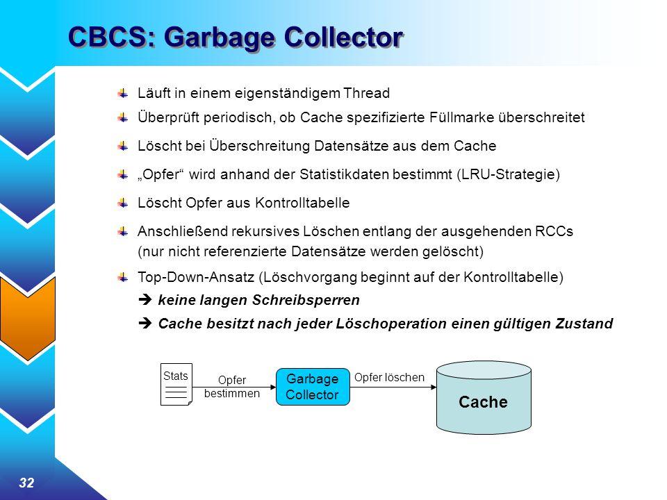 32 CBCS: Garbage Collector Läuft in einem eigenständigem Thread Überprüft periodisch, ob Cache spezifizierte Füllmarke überschreitet Löscht bei Überschreitung Datensätze aus dem Cache Opfer wird anhand der Statistikdaten bestimmt (LRU-Strategie) Löscht Opfer aus Kontrolltabelle Anschließend rekursives Löschen entlang der ausgehenden RCCs (nur nicht referenzierte Datensätze werden gelöscht) Top-Down-Ansatz (Löschvorgang beginnt auf der Kontrolltabelle) keine langen Schreibsperren Cache besitzt nach jeder Löschoperation einen gültigen Zustand Garbage Collector Stats Opfer bestimmen Cache Opfer löschen