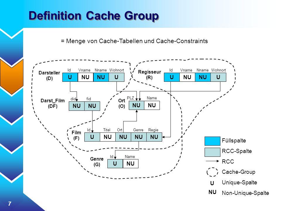 7 Definition Cache Group = Menge von Cache-Tabellen und Cache-Constraints NU Darsteller (D) Id Vname Nname Wohnort UNUU Regisseur (R) NU Id Vname Nnam