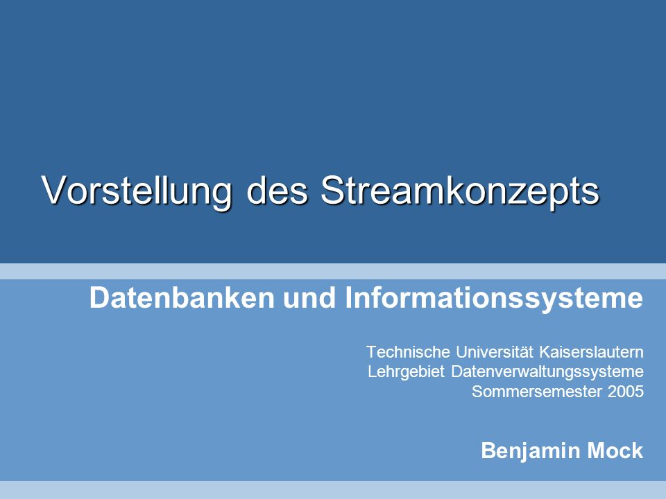 Inhalt Anwendungsgebiete von Datenströmen Eigenschaften von Datenströmen Anfragen an Datenströme Sliding Windows Datenstrom-Management-Systeme (DSMS) –STREAM, AURORA, SPEX Load Shedding 2