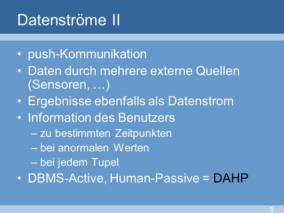 Datenströme II push-Kommunikation Daten durch mehrere externe Quellen (Sensoren, …) Ergebnisse ebenfalls als Datenstrom Information des Benutzers –zu